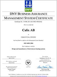 Calix ISO 14001-2004 Miljöcertifiering